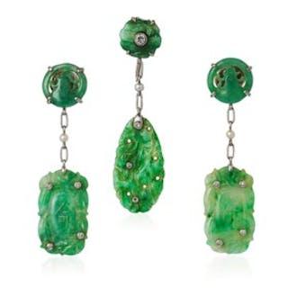 JADE AND DIAMOND EARRINGS