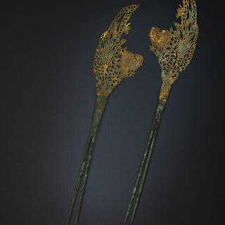 A PAIR OF PARCEL-GILT SILVER HAIRPINS TANG DYNASTY (AD 618-907)