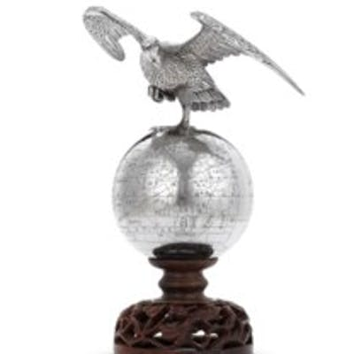 A CHINESE EXPORT SILVER PRESENTATION GLOBE