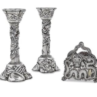 A PAIR OF JAPANESE EXPORT SILVER CANDLESTICKS