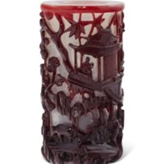 A RED-OVERLAY WHITE GLASS CYLINDRICAL BRUSH POT