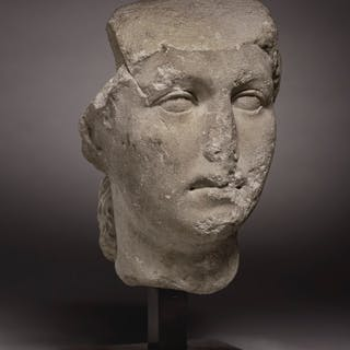 A ROMAN MARBLE PORTRAIT HEAD OF A WOMAN JULIO-CLAUDIAN PERIOD, CIRCA 40...