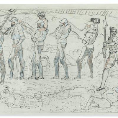 FERDINAND HODLER (1853-1918) Studie zum dritten Karton des W...
