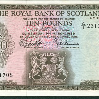 £10 dated 19-3-1969 series A/1 231708