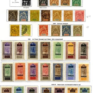 FRANCE (SUDAN) 1894-1933 collection on leaves with 1894-1908 to 1f