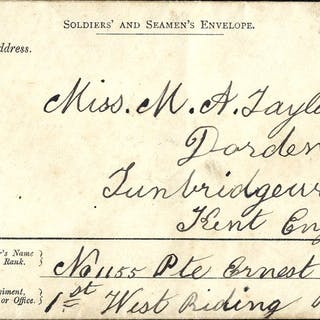 1889 9p Soldiers & Seamen's envelope to England from a...