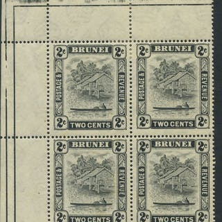 1947-51 P.13½ x 14 2c upper left corner marginal UM block of four incl
