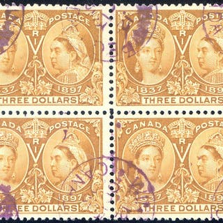 1897 Jubilee $3 bistre scarce used block of four