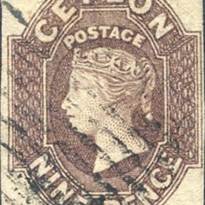 1857-59 Imperforate 9d purple-brown (SG.8)