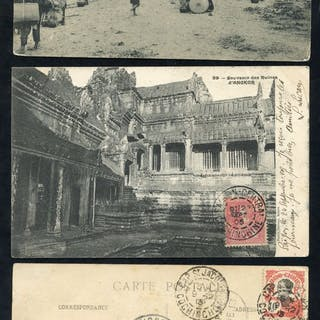 INDO-CHINA pre-WWI postcards (24) used to Europe with...
