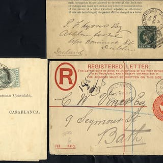 1890 5c wrapper cancelled A26 and GIB/SOUTH DISTRICT c.d.s
