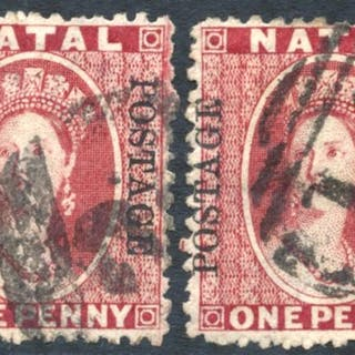 1874 1d rose (2) both cancelled '2' of Durban & '15' of Escourt