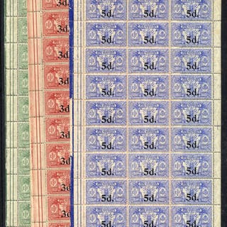 1924 Surcharge set each in UM sheets of thirty