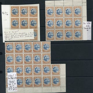 1898 a very fine lot of mint 1d Taupo with blocks of 35