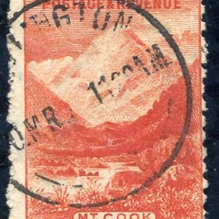 1902-07 5/- Mount Cook with upright watermark fine used with large bottom margin