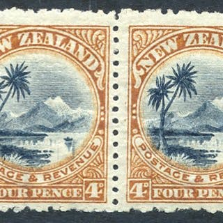 1902-07 4d Taupo in a fine mint horizontal pair with reversed watermark