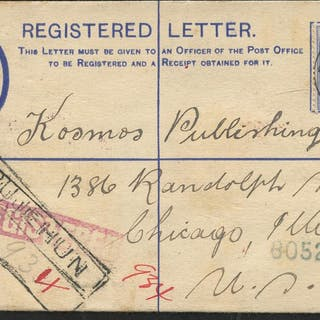 1920 2d reg envelope with KGV 2½d addressed to Chicago
