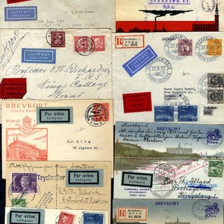 C1928-38 airmail covers etc including uncommon postcards (5)