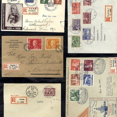 1930's mainly commercial mail - all registered (including 2 postcards)