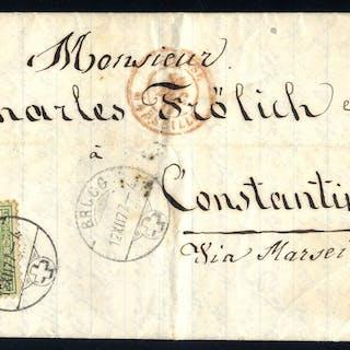 1877 EL to Constantinople franked 25c Sitting Helvetia