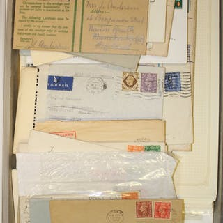 BOX FILE CONTAINING KGVI POSTAL HISTORY accumulation of loose & on leaves