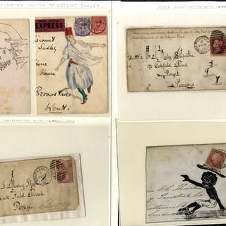 1870's-1912 selection of 6 hand illustrated covers (3) & fronts (3)