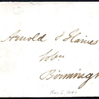 1840 Nov 5th cover from Nottingham to Birmingham franked Pl.4 JF
