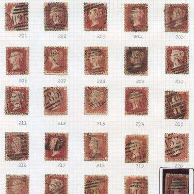 1864-79 1d Red Plate Numbers 71 to 225 (excl