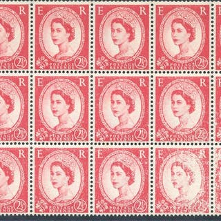1959 Multiple Crowns 2½d carmine red on UM right side...