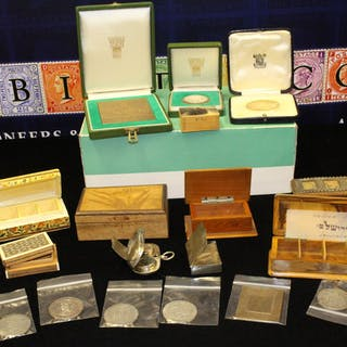 STAMP BOXES group of various wooden & metal stamp boxes...