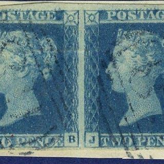 1841 2d Plate 3 pair blue cancel