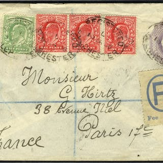 1906 6d stationery envelope uprated to Paris