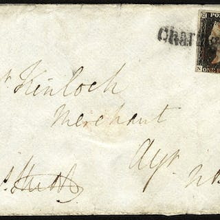 1840 penny black Plate 2 cover tied Red Cross + Charing Cross straight line