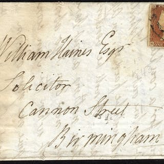1843 cover Southampton to Birmingham 1d red tied Southampton c.d.s