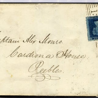 1858 cover Edinburgh to Peebles 2d Plate 5 tied Edinburgh roller