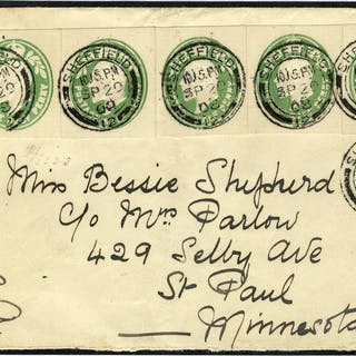 1908 envelope Sheffield to Minnesota franked ½d cut-outs (5)