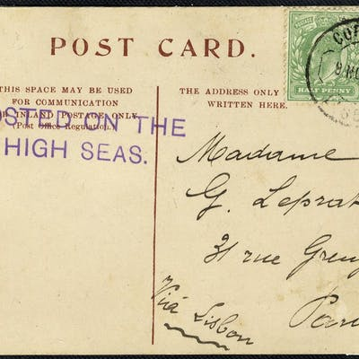 1902 POSTED ON THE/HIGH SEAS postcard