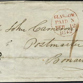 1842 entire Glasgow to Bonaw bears Maltese Cross