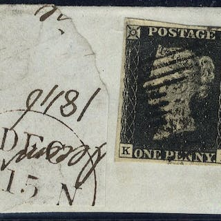 1840 1d black Plate 4 tied Scots 1844 cancel