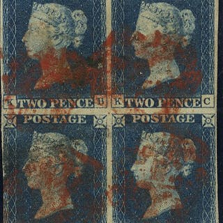 1840 2d Plate 1 block of four