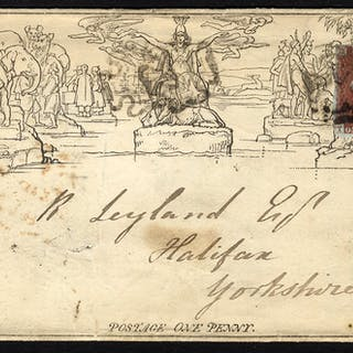 Penny Mulready uprated with 1841 1d red
