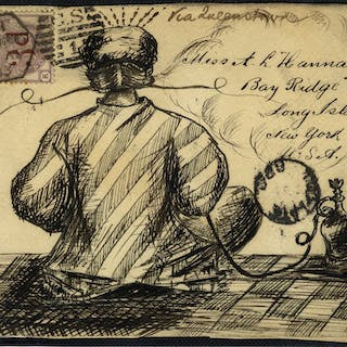 1883 illustrated envelope front - London to Long Island