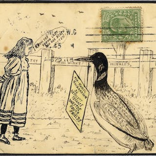 1911 illustrated postcard Girl & Duck - London to South Shields