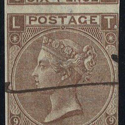 1870 6d Plate 9 COLOUR TRIAL in dull brown part M/S 'SPECIMEN' SL/TL