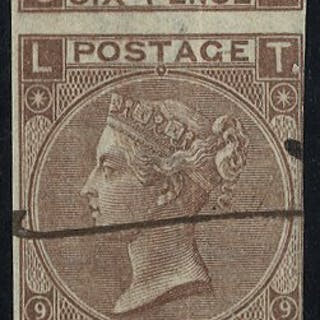 1870 6d Plate 9 COLOUR TRIAL in dull brown part M/S 'SPECIMEN' SL/TL