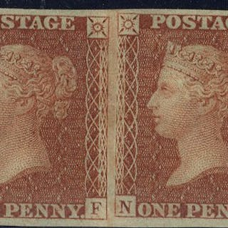 1854 1d Imperforate pair SG29a