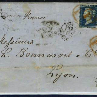 1855 2d pair on cover 'PD' cancels RARE