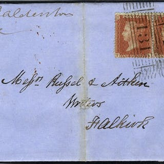 1855 1d pair SG29 on cover