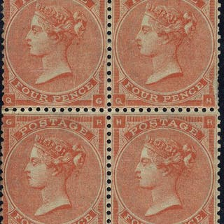 1862 4d Mint block of four SG79