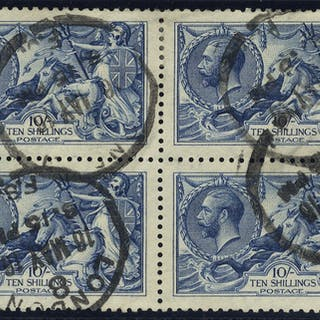 1915 DLR 10s bright blue block of four